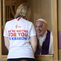 Pope francis confesses a youth at the divine mercy sanctuary in krakow, poland, saturday, july 30, 2016. francis is taking part in world youth day, a