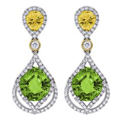 Spark Creations - E 22125-PER0.82 CT DIAMOND 1.40 CT YELLOW SAPPHIRE 6.09 CT PERIDOT EARRINGS