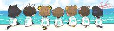 "littleV。 on Twitter: ""【FA】  🌺Summer package2017🏝   #btsfanart #방탄소년단 #팬아트 #태태 #뷔 #태형 #남준  #지민 #정국 #호석 #진  #윤기 #Summer package2017 https://t.co/iCOCOQ23mZ"""