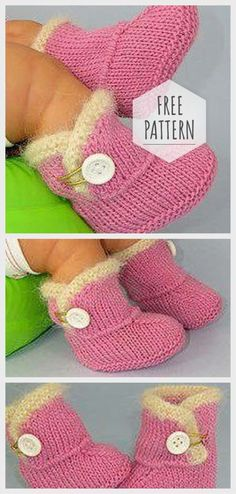 Knitting Booties for Baby Stricken Booties für Baby Easy Blanket Knitting Patterns, Baby Booties Knitting Pattern, Knit Baby Booties, Knitting Patterns For Babies, Small Knitting Projects, Knitting For Kids, Easy Knitting, Baby Set, Baby Baby