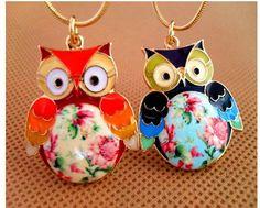 2016 Glaze Màu Drops Owl Mặt Dây Thời Trang Vintage Dây Chuyền Trang Sức N027 M/D