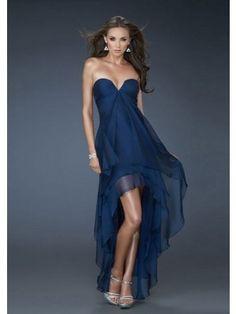 Dunkelnnavy A-line Trägerloser Ausschnitt Empire Asymmetrisch Chiffon Prom Kleidenes für 413,15€