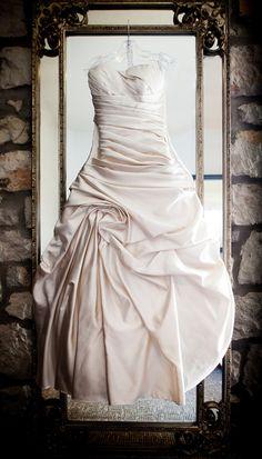 Cambridge Mill, Cambridge, Ontario, Canada wedding, Ruched wedding dress, Sweetheart neckline, Mirror, Stone wall,  photography experts | Anne Edgar Photography