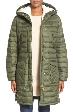 Save the Duck Quilted Coat with Removable Faux Shearling Liner