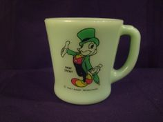 Rare Fire King Jadite Jiminy Cricket Mug with WALT DISNEY PRODUCTIONS Decal