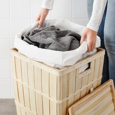 BRANKIS Laundry basket, 50 l. The wooden slats add natural warmth to the room - whether you place the laundry basket in the bedroom, walk-in closet or bathroom. Simply remove the lining and carry your laundry to the washing machine. Small Storage, Storage Boxes, Storage Baskets, Bathroom Organisation, Bathroom Storage, Interior Ikea, Kitchen Interior, Interior Decorating, Outfits