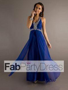 2013 Style A-line Halter Rhinestone Sleeveless Floor-length Chiffon Prom Dresses / Evening Dresses