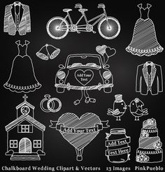 Check out Chalkboard Wedding Clipart & Vectors by PinkPueblo on Creative Market