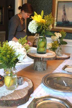 Mooie natuurlijke etageres voor op tafel. Zou het lukken om zulke houtschijven te zagen?