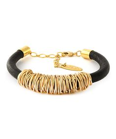 Look at this ADA Collection Black Agata Leather & Gold Bracelet on #zulily today!
