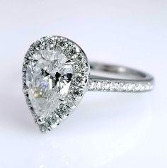 """Louisa"" Pear Cut Brilliant Halo Engagement Ring"