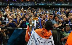 during UEFA Champions League Final between FC Bayern Muenchen and Chelsea at the Fussball Arena München on May 2012 in Munich, Germany. Chelsea Football, Chelsea Fc, Football Soccer, Uefa Champions League, Victorious, Finals, Celebrities, Sports, Munich Germany