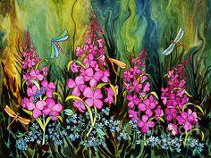 Fireweed & Dragonflies. Watercolor, 22 x 30
