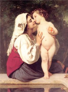 The Kiss  Artist: William-Adolphe Bouguereau  Completion Date: 1863  Style: Neoclassicism  Genre: genre painting  Technique: oil  Material: canvas  Dimensions: 86.4 x 113.7 cm  Gallery: Private Collection  Tags: mother-and-child