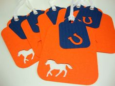 Denver Bronco Gift Dog Tags in Orange Blue by KadysPetCouture, $5.25
