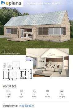 This modern design floor plan is 1160 sq ft and has 2 bedrooms and has 1 bathrooms. Dream House Plans, Modern House Plans, Modern House Facades, Passive Solar Homes, Solar House, Facade House, Common Area, Open Floor, Tiny Houses
