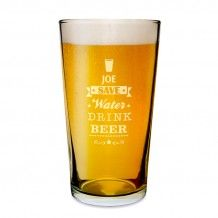 Engraved Save Water Drink Beer Pint Glass