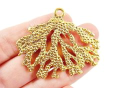Large Coral Branch Pendant  22k Matte Gold Plated  by LylaSupplies, $5.50