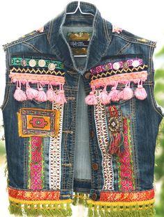 Reciclado Vintage bohemian denim jeans chaleco por TheLookFactory
