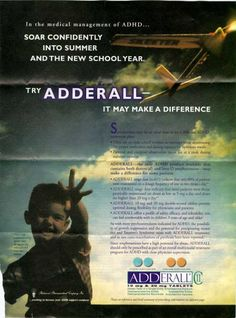 One common theme of these drug advertisements is the manner in which they use branding, particularly naming practices, to differentiate what is actually a surprisingly small core group of consumer drugs. Adderall, for instance, is simply a trade name for a mixture of amphetamine salts - of which one quarter is d,l racemic amphetamine, i.e. our old friend Benzedrine.