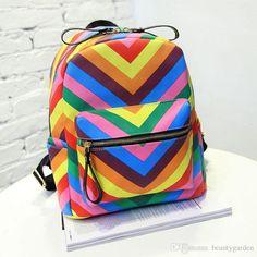 Black Backpack Fashion Rainbow Printing Design Double Sholder Bags ...