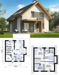 Places of Style Boxspringbett Antonia mit knautschigem Kopfteil Places of StylePlaces of Style Small Cottage House Plans, Family House Plans, Bedroom House Plans, Small House Floor Plans, Small House Design, Modern House Design, House Construction Plan, Modern Bungalow House, Model House Plan