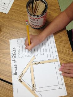 word work--- make a spelling pattern with spelling word sticks and then write more words that follow the pattern inside the house !!!