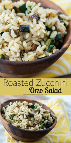Roasted Zucchini Orzo Salad is the perfect light summertime side dish. Roasted, caramelized zucchini, al dente orzo and zingy lemon Greek vinaigrette.