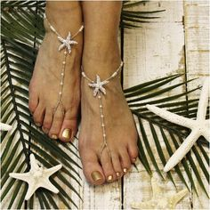 Our silver rhinestone starfish beaded barefoot sandals add just right amount of sparkle to your beach wedding. The perfect accessory for your starfish inspired beach wedding! Our stunning silver rhine
