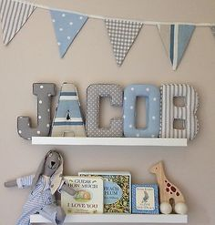 Fabric letters wall art handmade padded nursery name personalised girl boy baby for . Baby Room Diy, Baby Bedroom, Baby Boy Rooms, Baby Boy Nurseries, Diy Baby, Bedroom Girls, Baby Boy Bedroom Ideas, Baby Boys, Bedroom Bunting