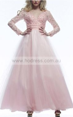 Long Sleeves Backless Tulle V-neck Ball Gown Formal Dresses gjea70342--Hodress