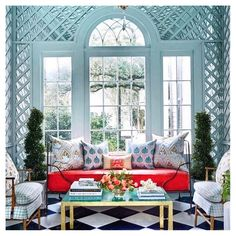 """Christian Ladd Interiors on Instagram: """"The perfect shade of blue in this lattice adorned solarium..💙 designed by @gracekaynordesign #saturdaywellspent"""" Cute Home Decor, White Rooms, Home Office Design, Home Decor Trends, Interiores Design, Home Accents, Old Houses, Decoration, Modern Decor"""