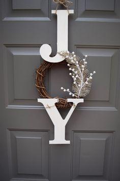 """JOY"" sign Christmas sign / christmas door hanger by TheClassyGoose. #joy #Christmas #deco #doorhanger #doorwreath. Source: https://www.etsy.com/listing/245575966/joy-sign-joy-wreath-christmas-sign?ref=cat_gallery_34&ga_ref=similar_listings_row&ga_search_type=all&ga_view_type=gallery"