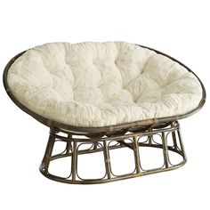 """Our iconic Double Papasan Chair is handcrafted of natural—and naturally durable—rattan, then finished with a rich, esspresso stain. All of which is just another way of saying, """"Ahhhhhhhh."""""""