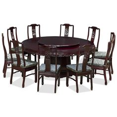 72in Rosewood Flower & Birds Design Round Dining Table with 10 Chairs