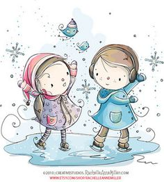 Ice Skating by Rachelle Anne Miller Winter Illustration, Christmas Illustration, Cute Illustration, Cute Images, Cute Pictures, Anna Miller, Art Mignon, Graphic Design Services, Digital Stamps