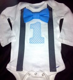 First birthday bow tie and suspenders onesie by IolaFernCustomBaby