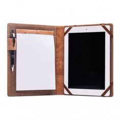 Our new tablet/iPad case with note pad and pen holder Line Design, All Design, New Tablets, Cork Fabric, Tablet Cover, Pen Holders, Mirror, Handmade, Ipad Case