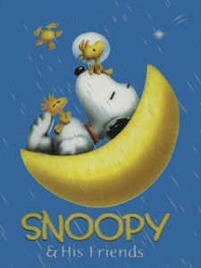 Snoopy, Woodstock and Friends Sitting in Crescent Moon and Flying Around the Moon