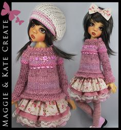 **OOAK Pink & Cream** Outfit for Kaye Wiggs 18  MSD BJD by Maggie & Kate Create