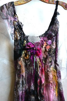Unique Art To Wear Floaty Tunic BLACk LACES With by Paulina722