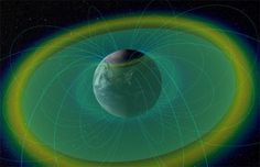 Ilustração mostra terra envolvida por plasmasfera (em azul esverdeado), por sua vez envolvida pelos cinturões de (Foto: Van Allen NASA's Scientific Visualization Studio/Divulgação)