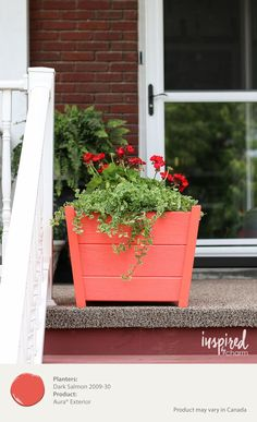 A planter painted in a bight color adds a burst of color to your porch, making your home look more welcoming. Try Dark Salmon in Benjamin Moore's Aura Exterior Paint. [ad]