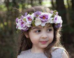 Corona de flores boda Boho adultos niños pequeños Tieback