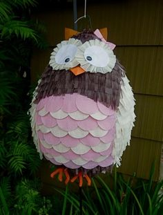 PInata: Owl, Pink and Brown by juana