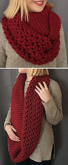 Free until Jan. 7, 2018 Only Knitting Pattern for Lily Red Snood - Free with code nouvelan  Infinity scarf cowl knit in garter stitch and a 3 row repeat netting stitch. Quick knit in bulky yarn. (Note – I was able to download without the code but you may need it). Designed by ChristineROGER. Available in English and French.