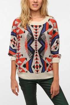 Urban Outfitters Staring at Stars Bold Graphic Pullover Sweater comes in ivory
