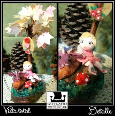Sweet little fairy and baby dragon, under a pearled tree. Polymer clay sculpture, OOAK.  . #fairy_gardens - #fairies -  #jardín_de_hadas #gnome_houses  - #casas_de_duendes