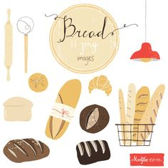 Bread CLIP ART SET by moogbee on Etsy, $8.95                                                                                                                                                                                 More