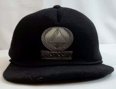 Vintage Arctic Cat Cap Hat Wool Metal Logo Foam Interior Black Snapback #ArtcoInc #BaseballCap